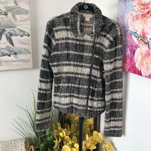 Lucky Brand Tweed Zip Front Blazer Jacket